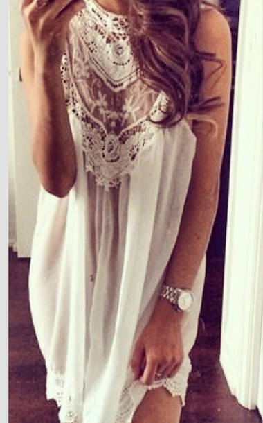 blouse dress white lace see through dress lace white white dress lace dress spring dress summer dress casual