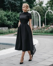 dress,black dress,midi dress,pumps,high neck,party dress,elegant dress