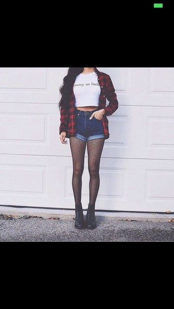tights punt net punk alternative shirt top blouse red flannel shirt shorts jacket flannel hose boots grunge dark indie boho tumblr weheartit red acid wash