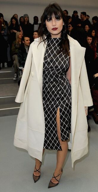 dress slit dress daisy lowe london fashion week 2016 fashion week 2016 coat