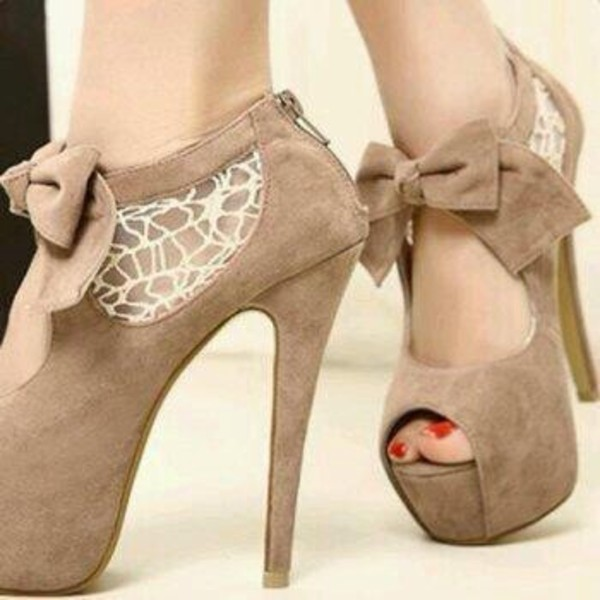 beige high heels lace
