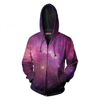 jacket purple galaxy hoodie zipup hoodie top sweatshirt yo vogue clothing sublimation all over print hoodie jacket