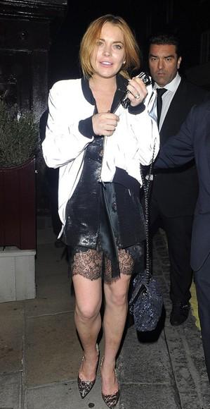 lindsay lohan white jacket bomber jacket
