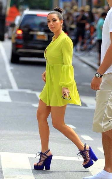 shoes dress blue neon yellow yellow dress kim kardashian summer dress summer outfits