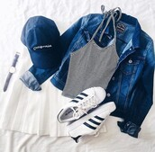 tank top,tumblr,hipster,adidas,skirt,white,striped top,stripes,crop tops,cropped,baseball cap,cap,jeans,jacket,adidas superstars,shoes,mini skirt