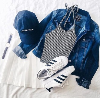 tank top tumblr hipster adidas skirt white striped top stripes crop tops cropped baseball cap cap jeans jacket adidas superstars shoes mini skirt shirt hat denim jacket california