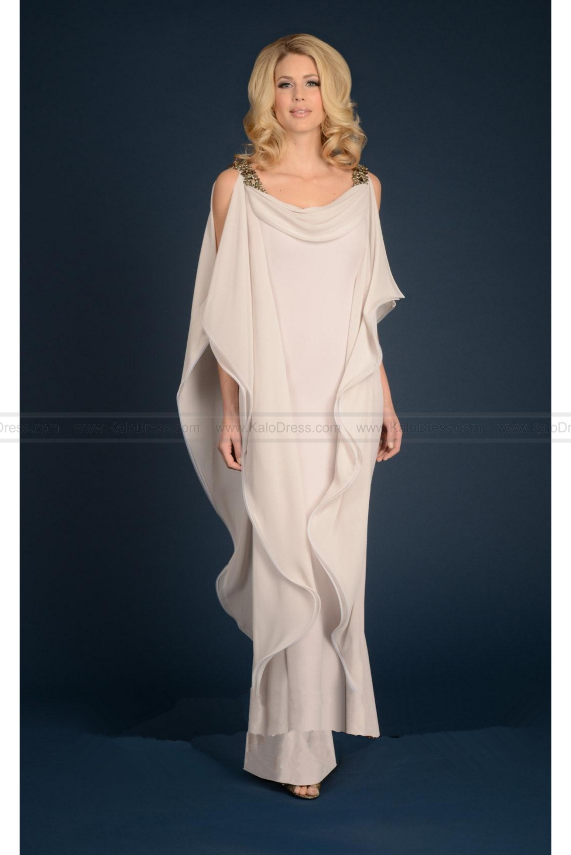 Sublime Ruffle Draped Evening Dress by Daymor - Evening Dresses - Special Occasion