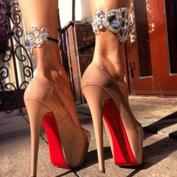 shoes high heels christian louboutin jewels ankle cuffs