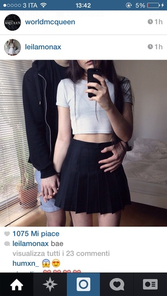 skirt black japanese school girl anime skirt girl tumblr instagram goth grunge top ribbed tee crop tops t-shirt