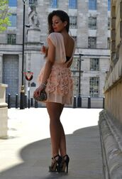 dress,backless,open back,opened back dress,pale pink dress,roses,mini dress,short dress,prom dress,backless short dress flowers