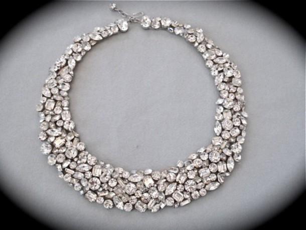 Jewels Jeweled Bridal Wedding Accessories Rhinestones Diamonds Statement Necklace Diamond Jewelry Prom