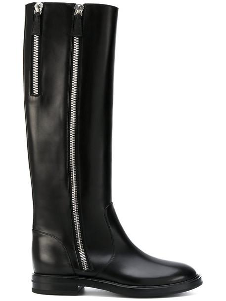 CASADEI zip women embellished leather black shoes