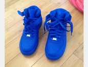 shoes,nike air force 1,blue,dark blue,nike shoes,blue air force 1s,royal blue,air force ones  royal blue,nike air,blue sneakers,high top sneakers,nike