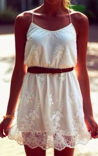 white dress lace dress sleeveless belt