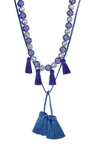 mini tassel necklace blue jewels