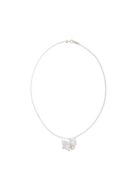 E.M. women necklace pendant silver grey metallic jewels