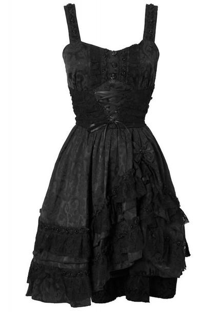 black dess corset dress alternative ulzzang lace up dress