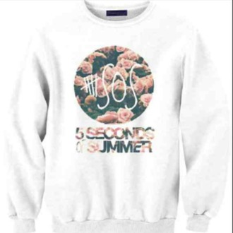 sweater 5sos hoodie white floral light pink 5 seconds of summer pink floral