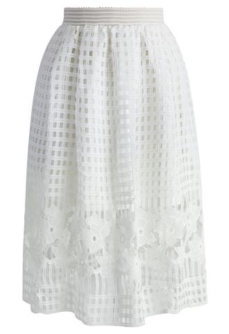 skirt chicwish flair white crochet lace skirt white skirt crochet skirt lace skirt spring skirt summer skirt style chicwish.com