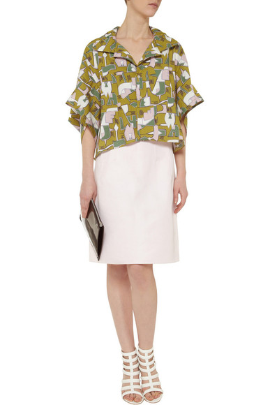 skirt shirt marni green printed cotton shirt cotton shirt jil sander neutro cotton-gabardine skirt