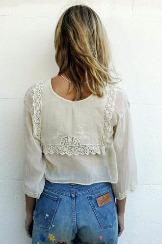 blouse white lace top top boho lace blouse cream lace cream blouse vintage top vintage blouse prom dress boho shirt