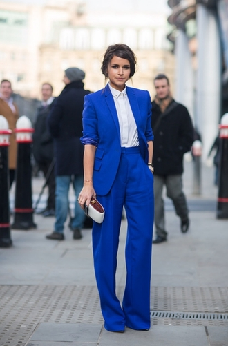 suit miroslava duma wide-leg pants blazer celebrity style important blouse jacket