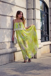 the marcy stop,jewels,bag,shoes,chiffon,yellow,long dress