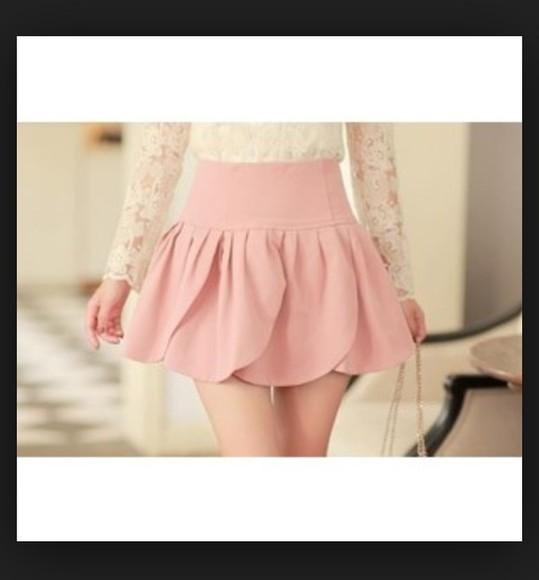 tumblr cute girly skirt skater skirt pink