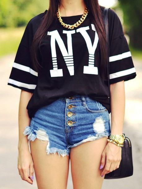 jeans waist high shorts blouse shirt top t-shirt black white new york new york city big t-shirt streetstyle