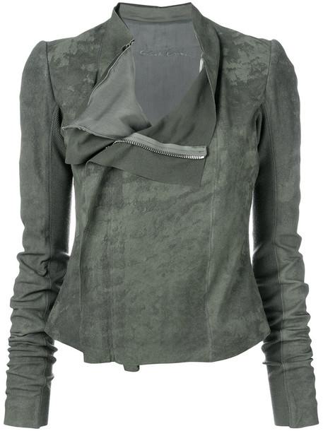 Rick Owens jacket biker jacket women silk wool green