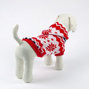 Amazon.com : pesco red&white maple leaves pattern knitted dog sweater warm winter costume dog clothes winter dog hoodie jumper pet sweater (small) : pet supplies