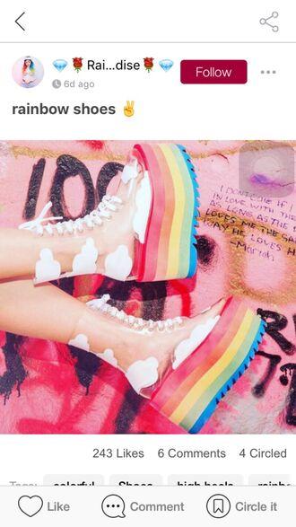 shoes boots clear boots white shoe laces rainbow rainbow boots colorful colorful boots clouds platform shoes