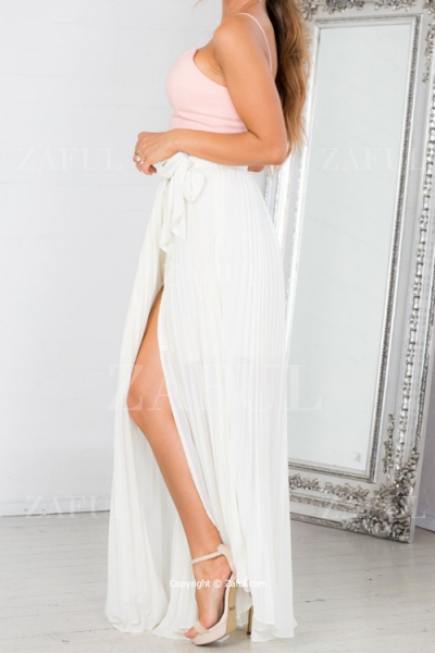 Slit Pleated Tie-Up White Maxi Skirt