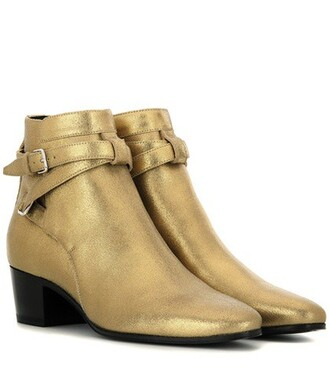 leather ankle boots metallic boots ankle boots leather gold shoes