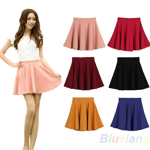 WOMENS CANDY COLOR HIGH WAIST PLEATED PLAIN SKATER FLARED MINI SKIRTS B94K