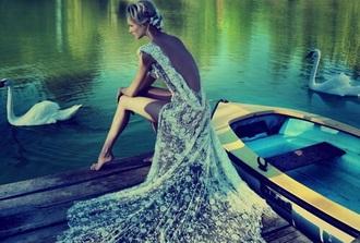 dress lace sheer white backless low back wedding wedding dress