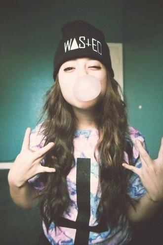 hat beanie wasted youth it girl shop grunge tie dye cross soft grunge girl hippie tumblr instagram urban gum