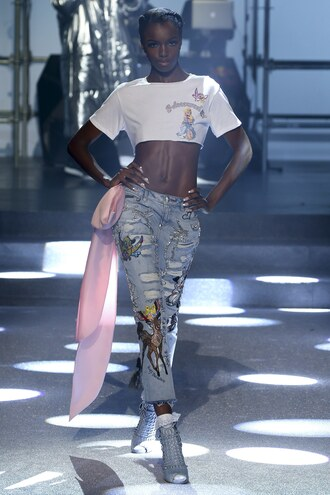 jeans ripped jeans ripped crop tops crop top runway philipp plein nyfw 2017 ny fashion week 2017