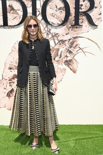 skirt top jacket olivia palermo dior fashion week 2017 paris fashion week 2017 maxi skirt haute couture sunglasses