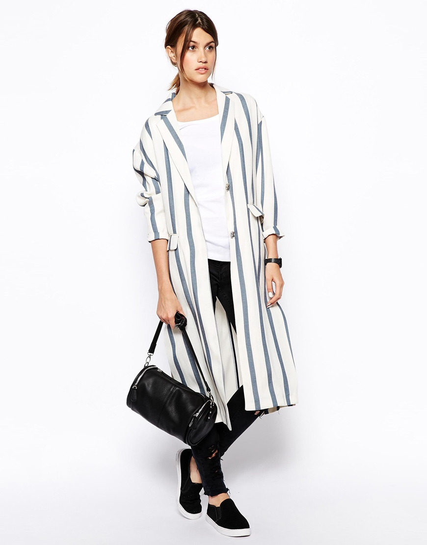 ASOS WHITE Striped Duster Coat at asos.com