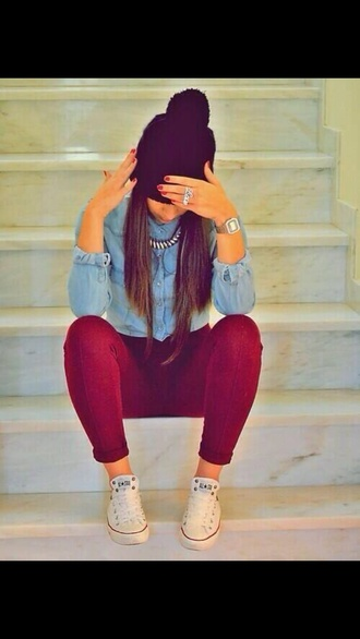hat jewels pants shirt jeans bracelets nail polish beanie denim shirt skinny pants skinny jeans red pants red jeans red skinny jeans necklace converse shoes color pants
