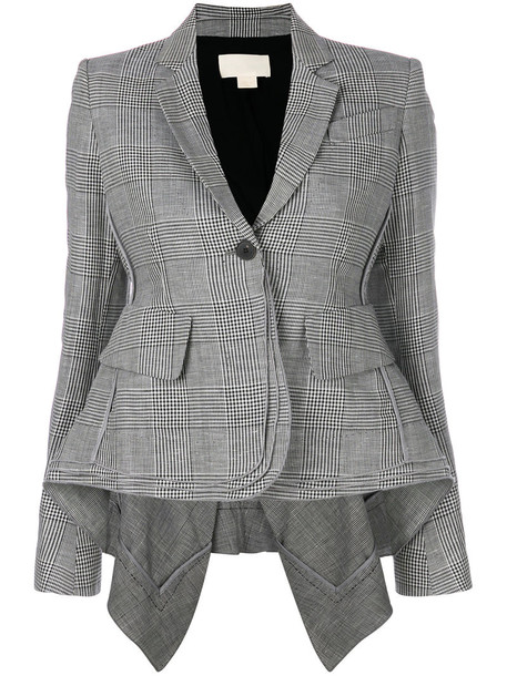 Antonio Berardi blazer women cotton black silk wool houndstooth jacket