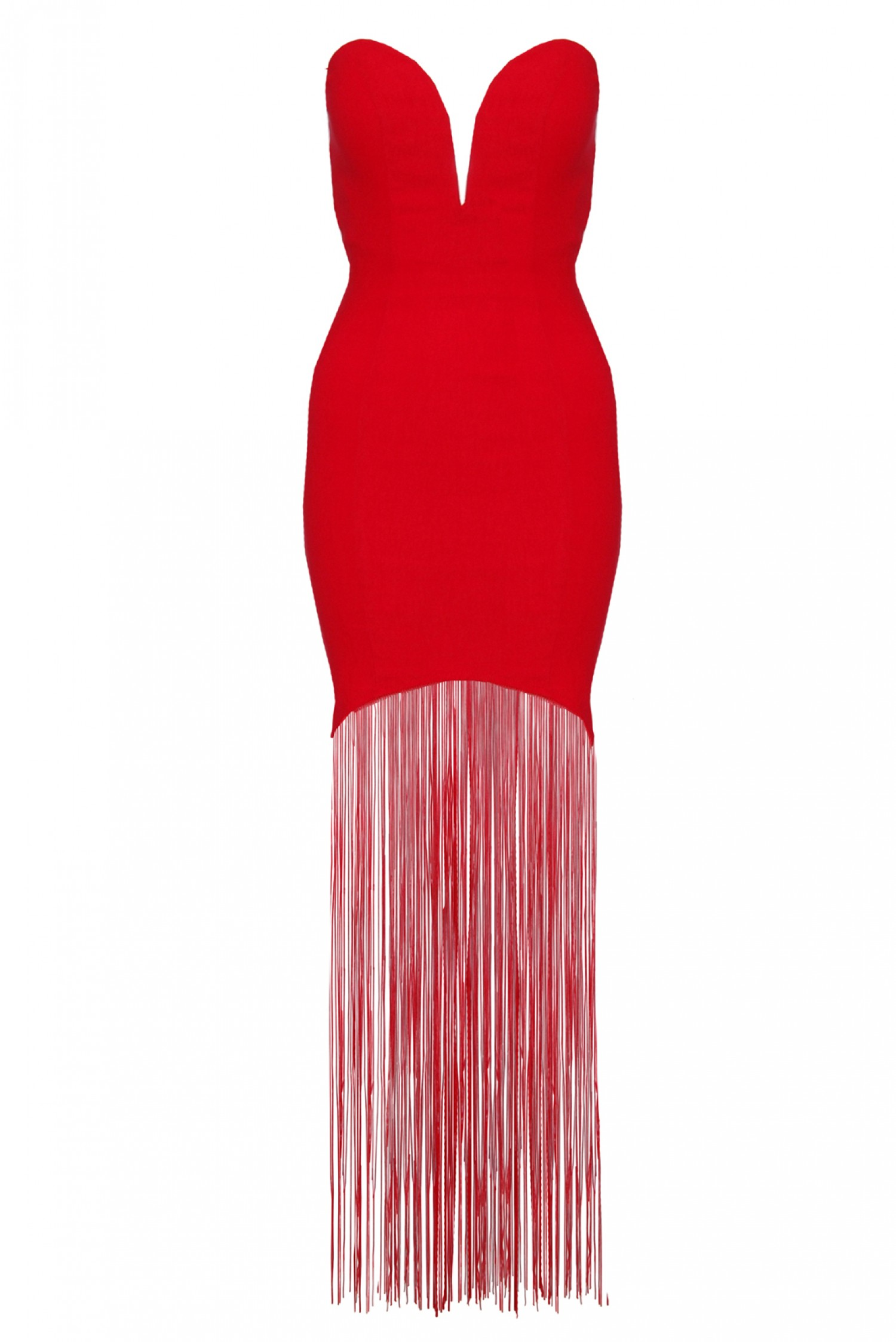 Red sweetheart fringe maxi dress from rare london