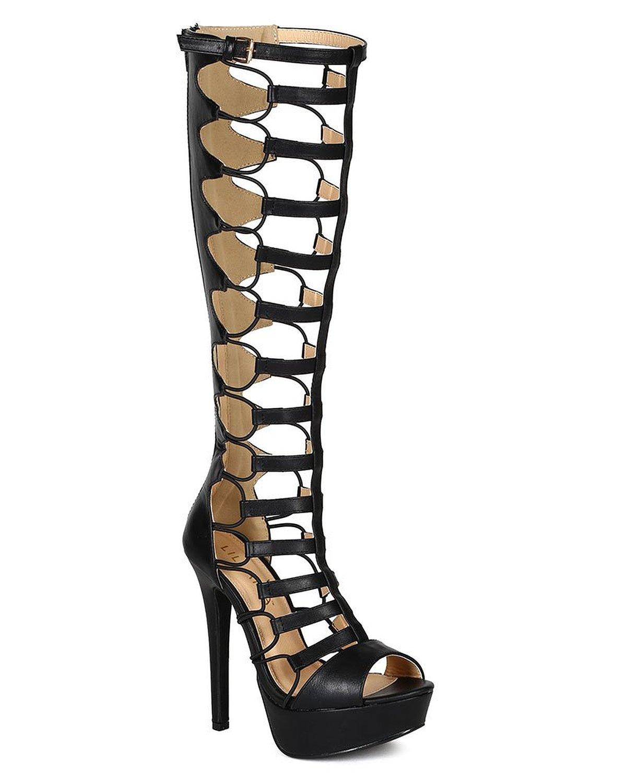 28be7ce10952 Amazon.com  Liliana CK43 Women Leatherette Open Toe Knee High ...