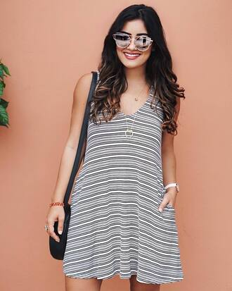 dress tumblr stripes striped dress mini dress sleeveless sleeveless dress v neck necklace bag sunglasses