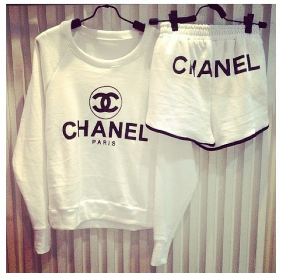 chanel coco chanel sweater shorts crewneck sweater white shirt sweater sweat suit