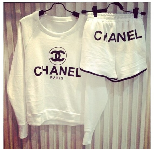 White Sweater Shorts Shorts Chanel Crewneck Sweater