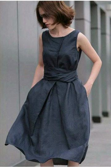 Pure Linen Sleeveless Pleated Boat Neck Dress [FXBI0041]- US$ 47.99 - PersunMall.com