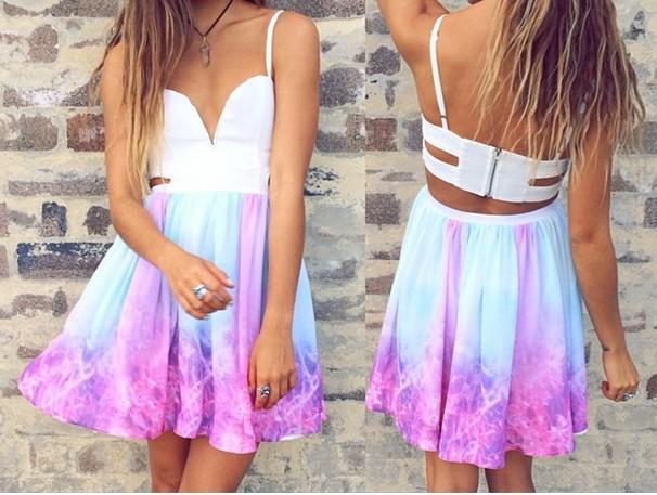 Fashion sexy colorful rainbow dress