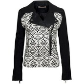 jacket,tribal pattern,monochrome,black and white
